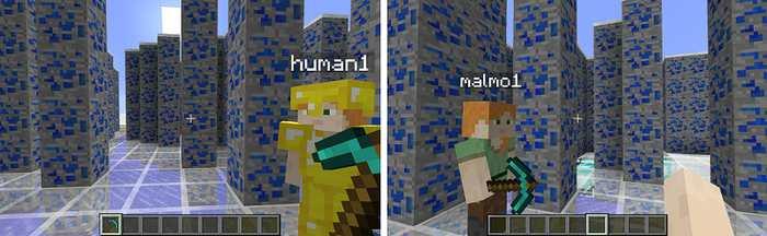 Projet Malmo, un personnage contrôlé par une intelligence artificielle et un autre qui est contrôlé par un humain