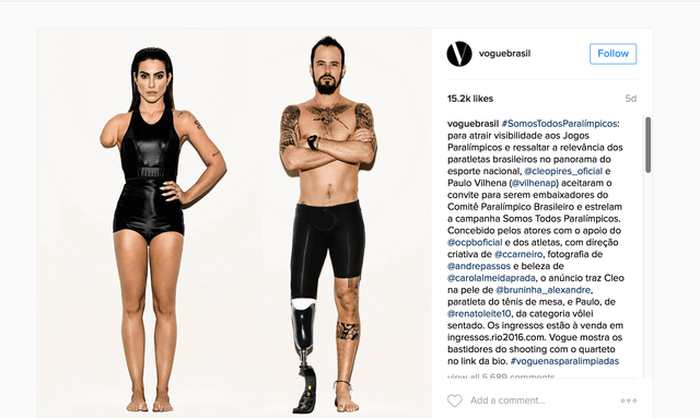 Le magazine Vogue Brésil n'a rien trouvé de mieux que de publier des acteurs photoshopés pour qu'ils deviennent des athlètes paralympiques. Le magazine a utilisé Photoshop pour créer des amputations artificielles.