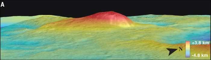 Ahuna Mons, un cryovolcan sur Cérès, possède une hauteur de 4 km et une largeur de 17 km.