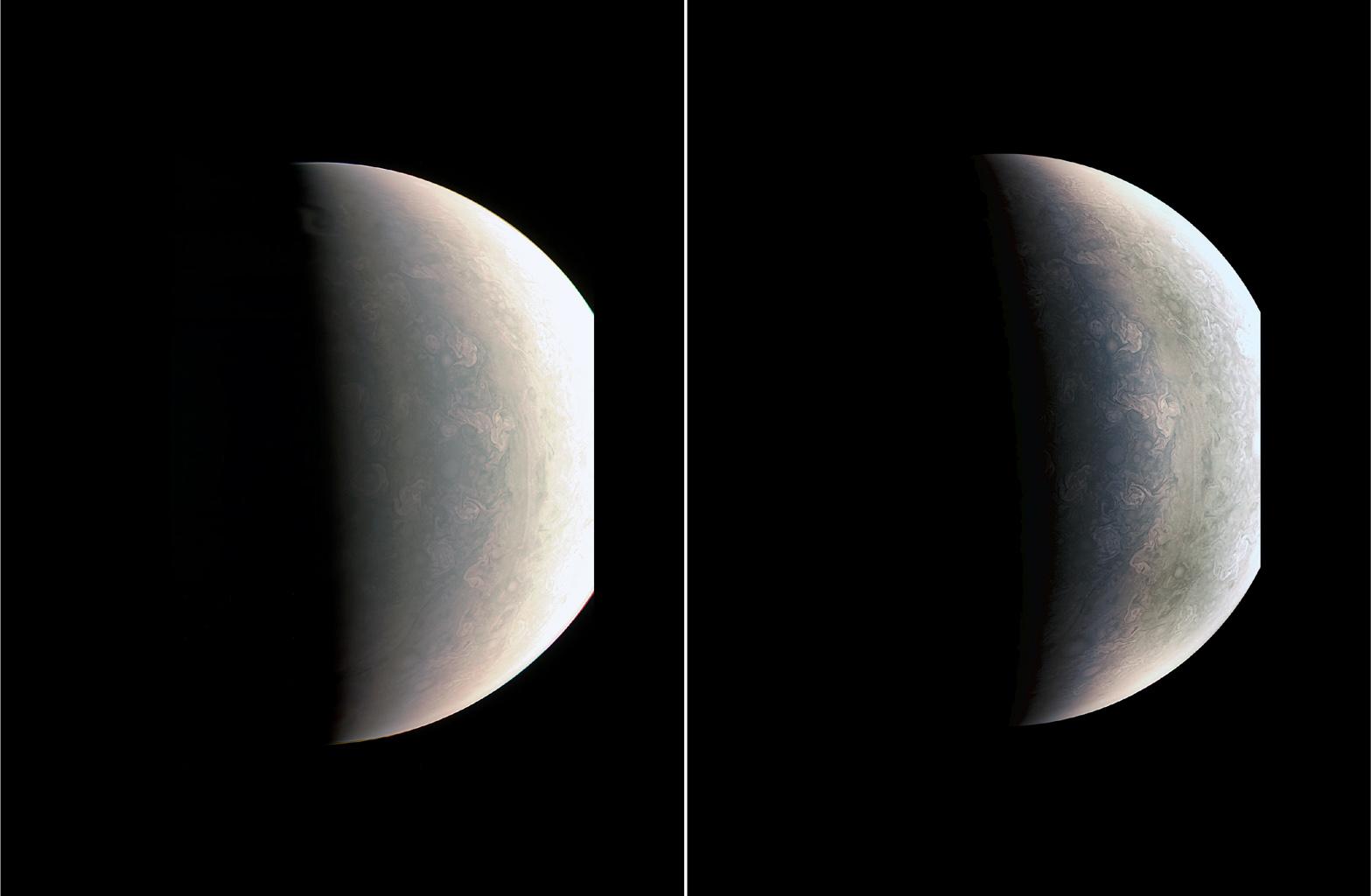 Juno nous envoyé ses premières images de Jupiter. Et les poles et les aurores de Jupiter sont vraiment uniques.