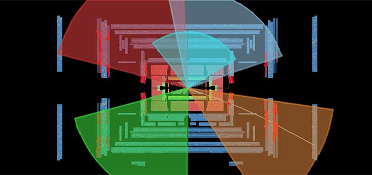 Pour trouver des particules supersymétriques, les scientifiques au LHC cherchent des signatures particulières dans leurs données. La collision dans cette image, issue de l'expérience ATLAS au LHC, a été sélectionnée comme un candidat de particules supersymétriques. Dans cette image, les rectangles indiquent les composants du détecteur et les 5 cônes indiquent les jets de particules produites dans la collision. Les scientifiques n'ont trouvé aucune trace de nouvelles particules.