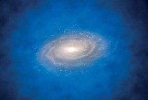 Une illustration d'une galaxie lointaine similaire à la Voie lactée où le halo bleu représente des photons Lyman-alpha qui ont dû mal à s'échapper - CREDIT : ESO/L. Calçada