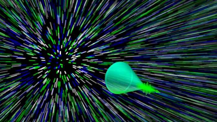 Une nouvelle méthode a permis aux chercheurs d'enregistrer le Cône de Mach, une diffusion dynamique de la lumière qui se produit quand une onde de choc est émise par une particule qui se déplace à une vitesse supersonique.