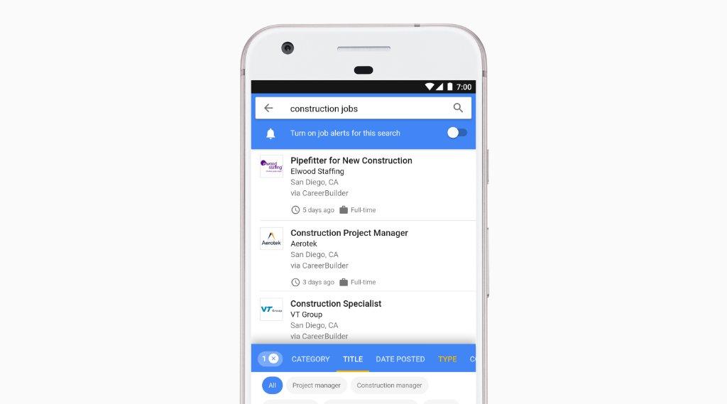 Google va afficher la recherche d'emplois dans ses résultats de recherche