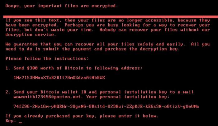 L'écran affiché sur les ordinateurs infectés avec le Ransomware Petya