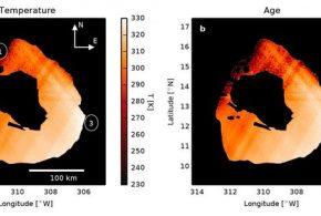 La carte de l'âge et des températures du cratère Loki Patera sur Io, la lune de Jupiter - Crédit : Large Binocular Telescope Observatory