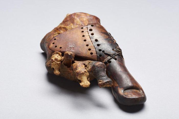 La prothèse de l'orteil d'une femme provenant de la tombe Theban TT95 datant du premier millénaire avant l'ère commune - University of Basel, LHTT. Image: Matja Kačičnik