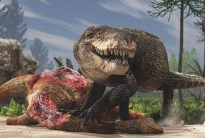 Une représentation paléoartistique de Razanandrongobe sakalavae alias Razana qui se repait d'une carcasse de sauropode dans le Milieu du Jurassique à Madagascar. Contrairement à nos crocodiles modernes, ce prédateur terrestre avait un crâne profond et il marchait sur des membres érigés - Crédit : Fabio Manucci