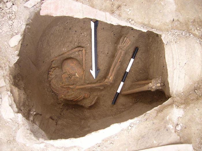 Une grande jarre funéraire qui contient les restes d'un Cananéen analysé dans l'étude - Crédit : Dr. Claude Doumet-Serhal - The Sidon excavation