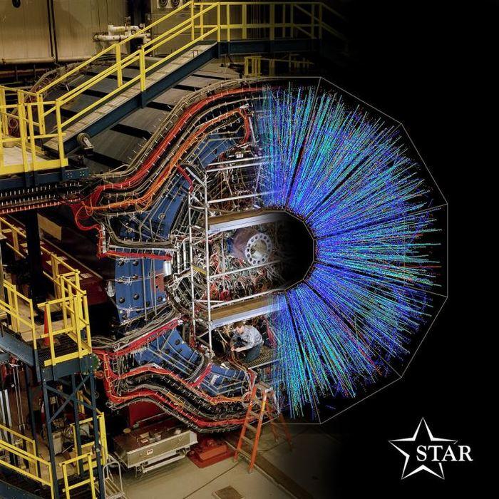 Le détecteur STAR au Relativistic Heavy Ion Collider situé Brookhaven National Laboratory avec une image superposée des particules suivies par le détecteur - Crédit : Brookhaven National Laboratory