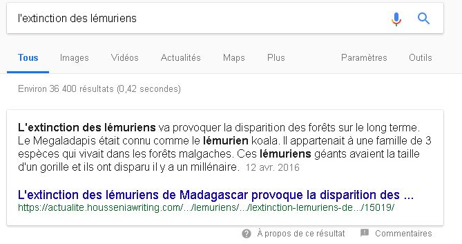 Obtenir un featured snippet