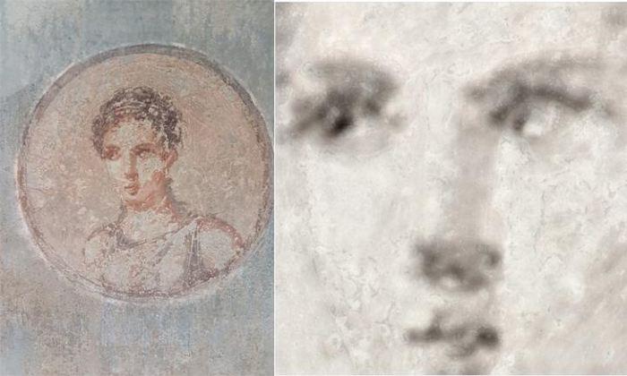 Une carte de l'élément du fer (sur la droite) réalisée avec une technologie par rayons X révèle les détails remarquables d'une ancienne peinture romaine (sur la gauche) - Roberto Alberti, Ph.D.