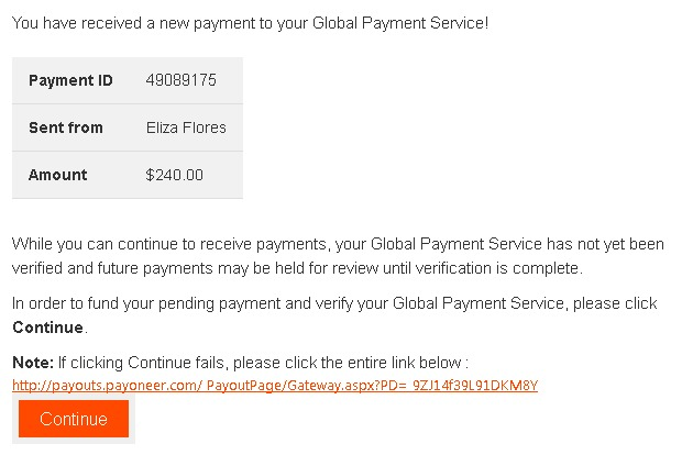 Attention au mail de phishing qui se font passer pour Payoneer