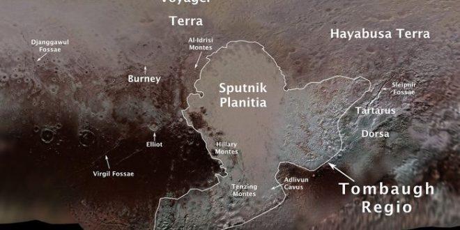 Les premiers noms officiels des caractéristiques de Pluton