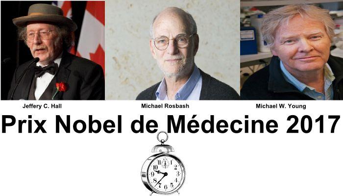 Le prix Nobel de Médecine 2017 a été décerné à Jeffery C. Hall, Michael Rosbash et Michael W. Young pour leurs travaux sur les rythmes circadiens qui sont des cycles quotidiens pour les hormones, l'activité des gènes et d'autres processus qui gouvernent le sommeil ou le métabolisme.