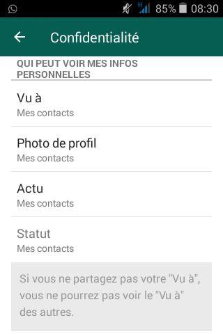 Vos paramètres de confidentoalité WhatsApp accessibles dans : Mon Compte/Confidentalité