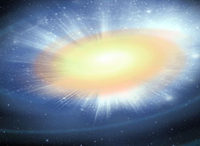 Illustration d'artiste d'une kilonova, un nouveau type d'explosion stellaire produite par une fusion d'étoiles à neutrons