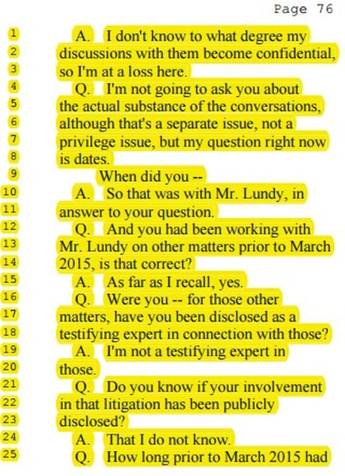L'aveu de Portier sur le fait qu'il était en contact avec les responsables de la firme juridique montrant un conflit d'intérêt manifeste