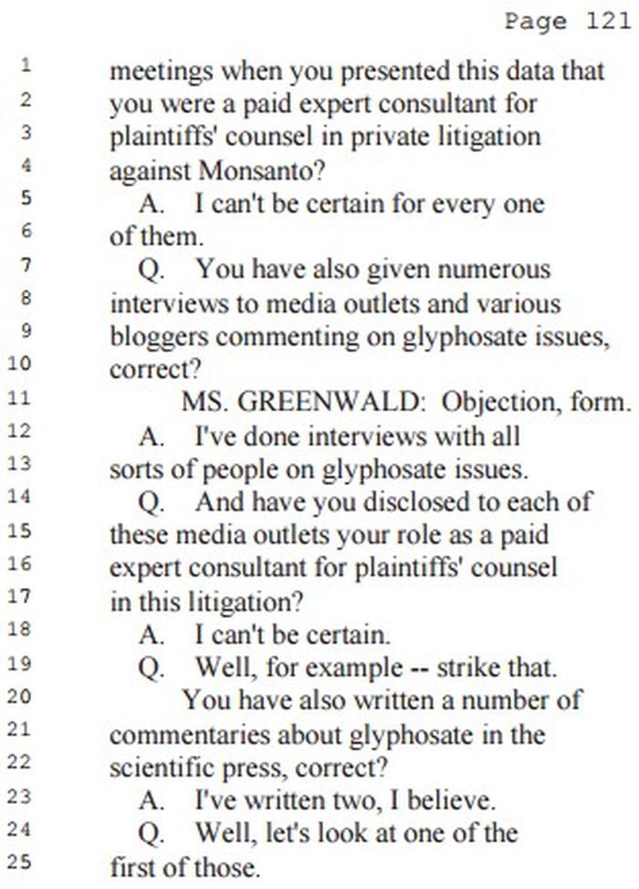 Christopher Portier a donné de nombreuses interviews dans les médias, mais à aucun moment, il n'a révélé qu'il était payé par cette firme juridique.