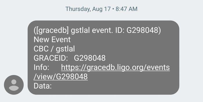 Le premier SMS annoncant la découverte de l'onde gravitationnelle le 17 aout 2017 avec une coincidence pour un sursaut gamma court - Crédit : Chad Hanna, CC BY-ND