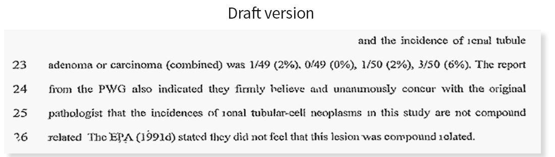 Une conclusion de la version préliminaire du rapport sur le glyphosate