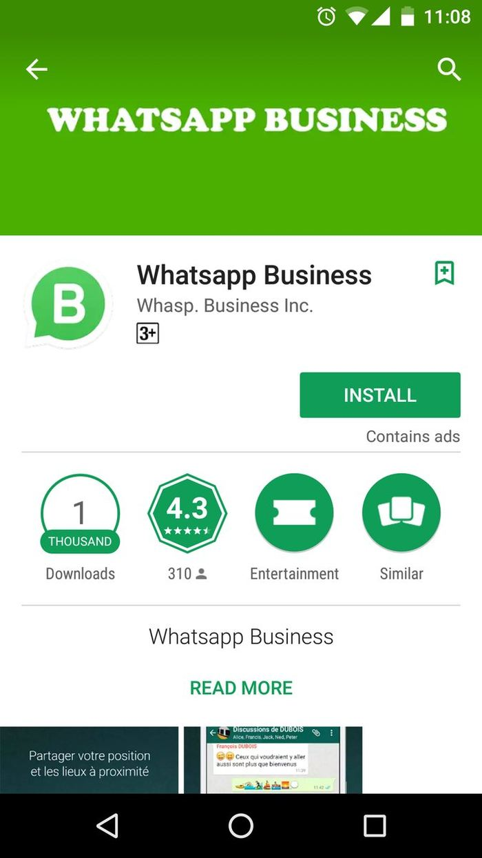 "Un exemple d'une fausse version de WhatsApp intitulé ""WhatsApp Business"""