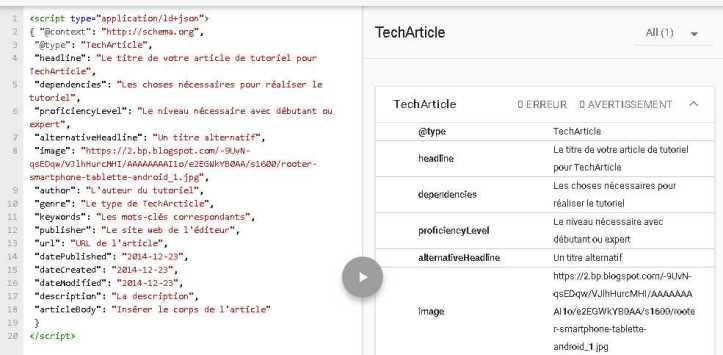 La balise TechArticle de Schema.org avec le test dans l'outil de test de données structurées de Google