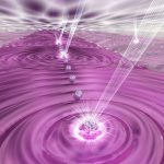 Une illustration d'artiste d'une simulation quantique. Les lasers manipulent un ensemble de 50 qubits atomiques pour étudier les dynamiques du magnétisme quantique - Crédit : E. Edwards/JQI