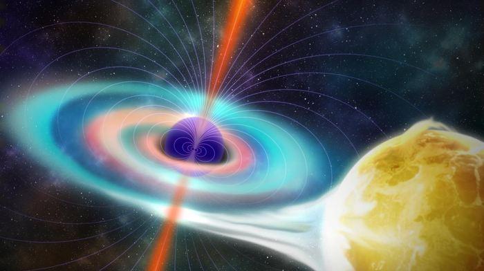 Une étude suggère que le champ magnétique des trous noirs, responsables des jets de matière, est plus faible que prévu. L'observation se base sur un seul trou noir, donc, les conclusions sont à prendre avec la prudence qui s'impose.