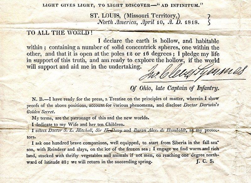 L'hypothèse de la Terre Creuse par John Cleves Symmes