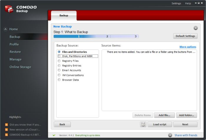 Sélection de fichiers et de dossiers à sauvegarder pour Comodo Backup