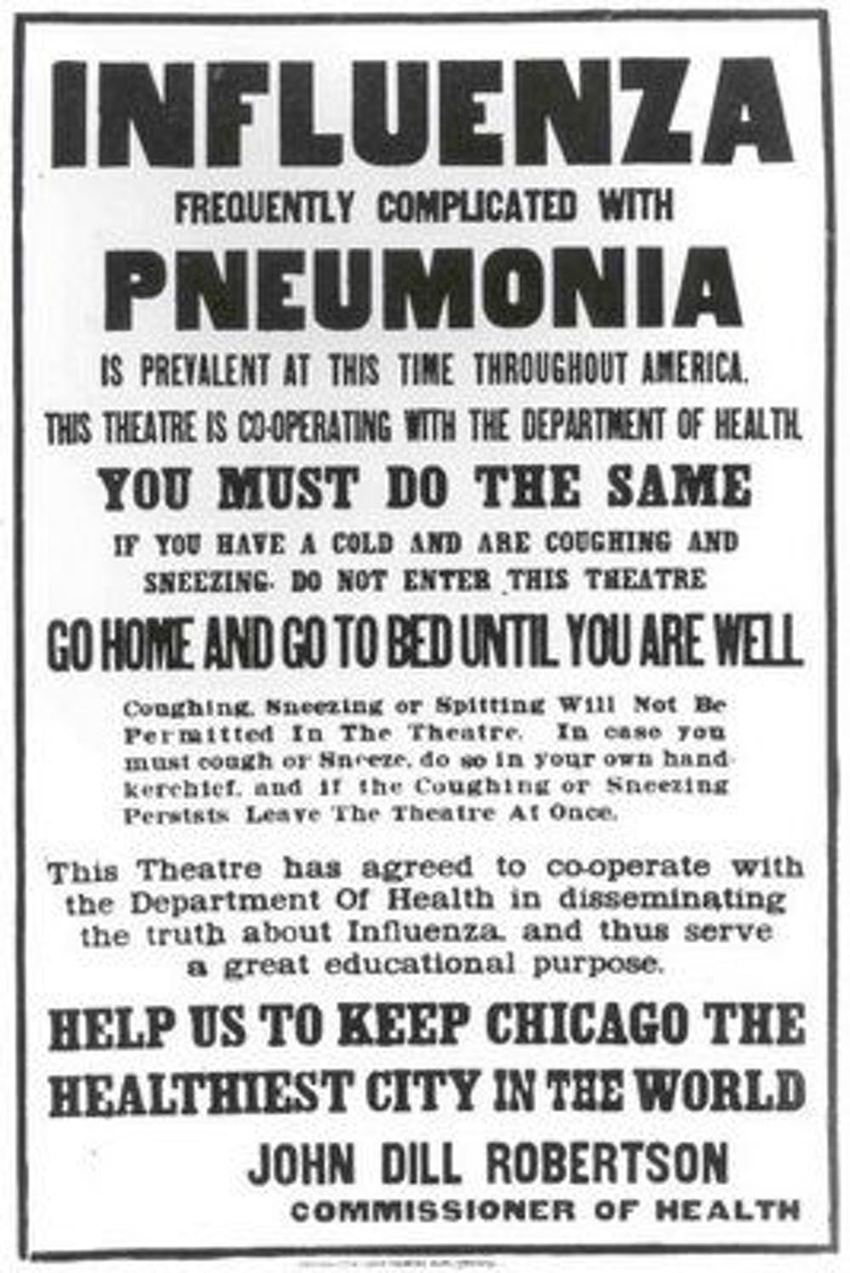 Une affiche à Chicago décrit les régulations pendant la pandémie de 1918 - Crédit : origins.osu.edu