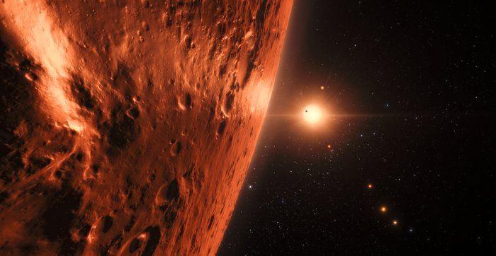 Image d'artiste figurant une vue depuis l'une des planètes du système TRAPPIST-1 - Crédit: ESO/N. Bartmann/spaceengine.org