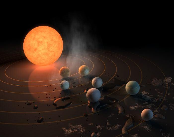Vue d'artiste du système TRAPPIST-1 - Crédit : NASA/R. Hurt/T. Pyle