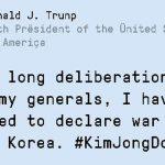 Ce jeu de vaccination anti-Fake News vous permet de créer des Tweets qui usurpent l'identité de personnalités comme ici un faux Tweet de Donald Trump qui déclare la guerre à la Corée du Nord.