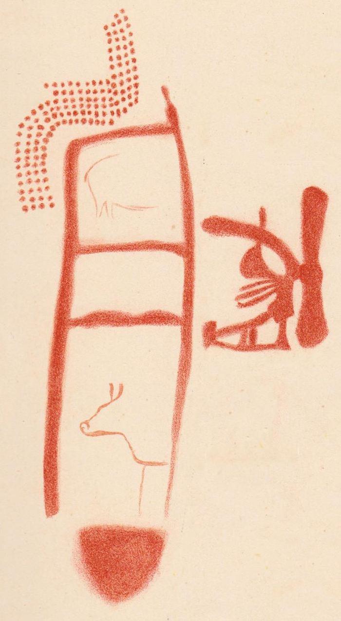 Un dessin du Panel 78 dans La Pasiega. Le scalariforme est mieux représenté, mais on ignore si les animaux et les autres symboles ont été peints plus tard - Crédit : Breuil et al