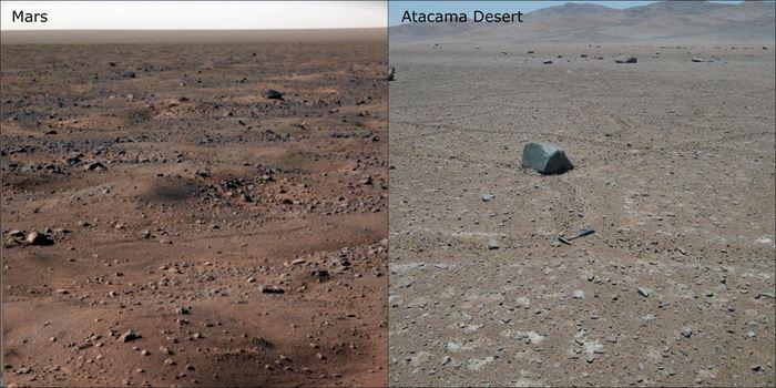 Une comparaison du type de sol sur Mars et dans le désert de l'Atacama - Crédit : NASA (gauche) / Alessandro Airo, TU Berlin (droite)