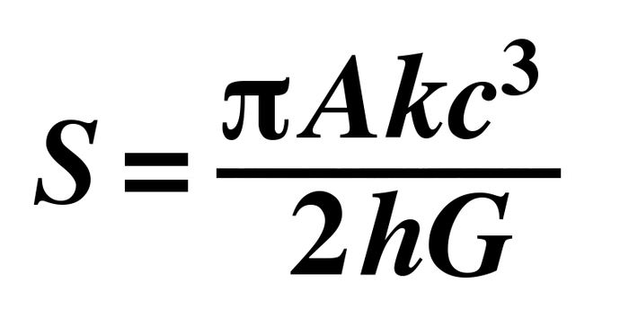 L'équation Bekenstein-Hawking qui sera gravée sur la tombe de Stephen Hawking - Crédit : Wikimedia Commons