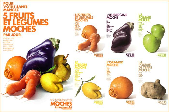 """La campagne pour les fruits et les légumes """"moches"""" de la marque Intermarché"""