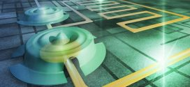 Une illustration de la peau de tambour d'une largeur de 15 micromètres sur des puces de silicium qui a été utilisé dans cette expérience d'intrication quantique. Le tambour vibre à une fréquence en ultrason et les vibrations créent l'état de l'intrication quantique - Crédit : Aalto University/Petja Hyttinen & Olli Hanhirova, ARKH Architects.
