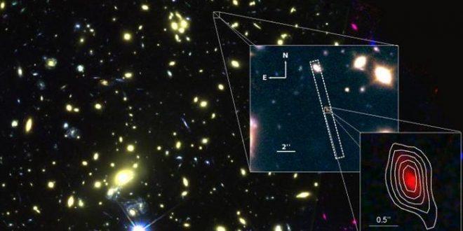 La galaxie MACS1149-JD1 située à 13,28 milliards d'années-lumière - Crédit : ALMA (ESO/NAOJ/NRAO), NASA/ESA Hubble Space Telescope, Hashimoto et al.