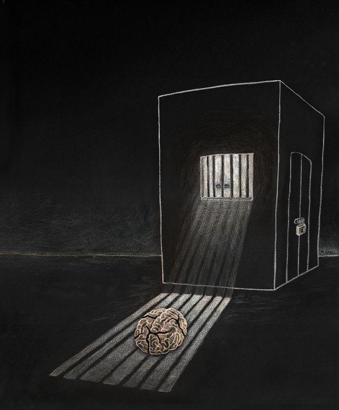 Une illustration d'artiste sur l'isolement du cerveau - Crédit : Maayan Harel