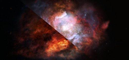 Illustration d'artiste sur une galaxie lointain qui produit des étoiles beaucoup plus massives que les galaxies comme la Voie lactée - Crédit : ESO/M. Kornmesser