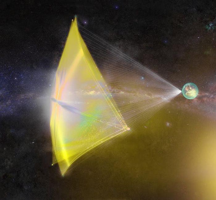 Illustration d'artiste de vaisseaux miniatures avec des voiles solaires
