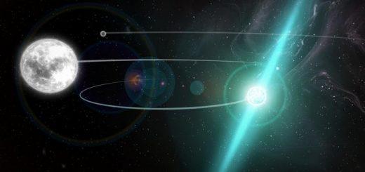 Une impression d'artiste du système d'étoile triple PSR J0337+1715, qui est situé à environ 4.200 années-lumière de la Terre. Ce système fournit un laboratoire naturel pour tester les théories fondamentales de la gravité - Crédit : NRAO/AUI/NSF; S. Dagnello