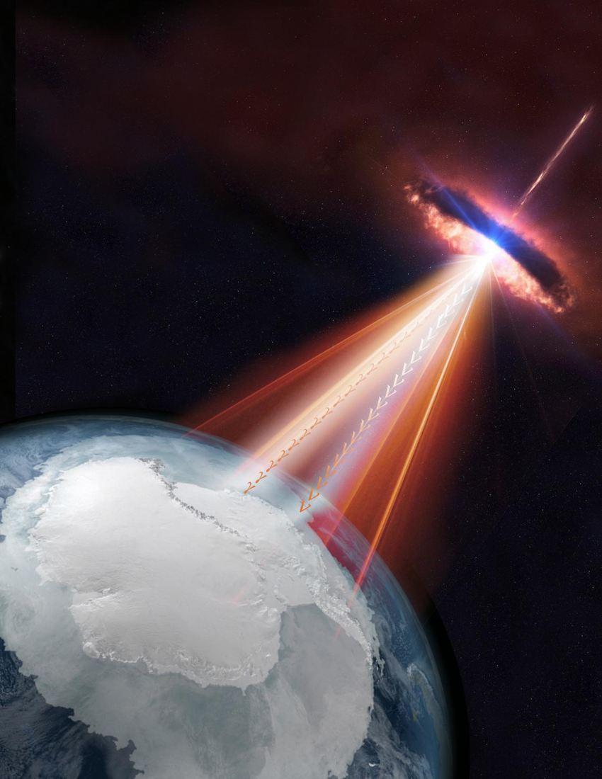 Les blazars sont un type de galaxie active avec un de ses jets pointant vers la Terre. Dans ce rendu artistique, un blazar émet à la fois des neutrinos et des rayons gamma qui pourraient être détectés par l'observatoire IceCube Neutrino ainsi que par d'autres télescopes sur Terre et dans l'espace - Crédit : IceCube/NASA