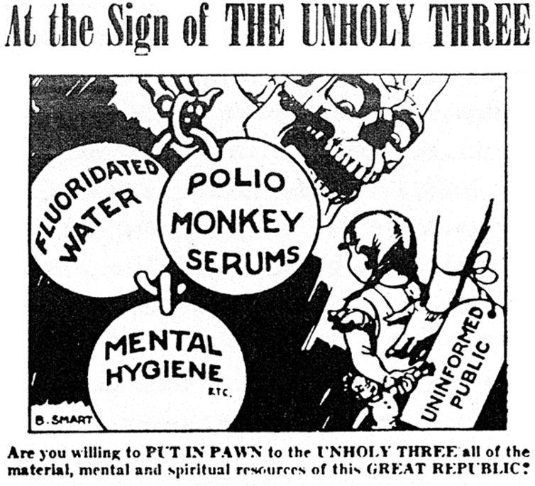 Un dépliant de 1955 prétendant que la fluoration de l'eau était un complot communiste - Crédit : Wikipedia
