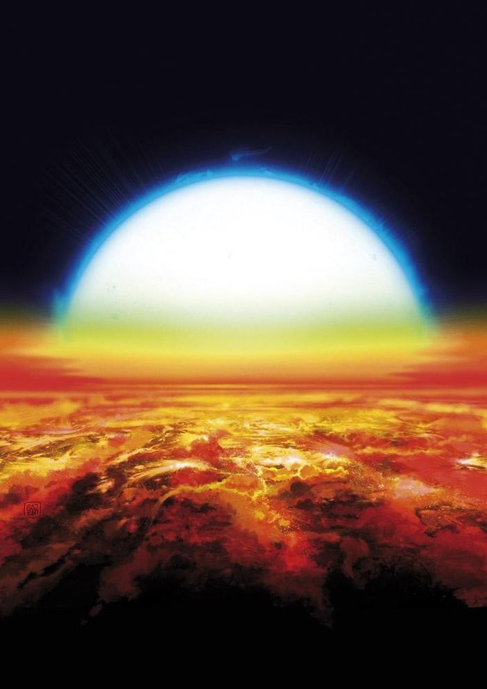 Vue d'artiste d'un coucher de soleil sur KELT-9b. L'étoile bleue chaude voisine couvre 35 degrés dans le ciel de la planète, soit environ 70 fois la taille apparente du soleil dans le ciel de la Terre. Sous ce soleil brûlant, l'atmosphère de la planète est suffisamment chaude pour briller dans des tons orange rougeâtre et vaporiser des métaux lourds tels que le fer et le titane - Crédit : Denis Bajram