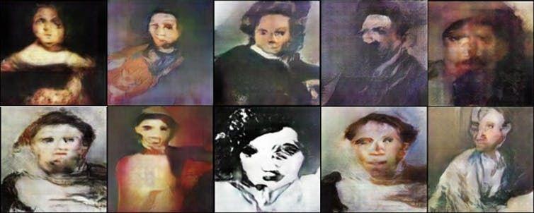 Alimenté par des portraits des cinq derniers siècles, un modèle génératif d'IA peut recracher des visages déformés - Crédit : Ahmed Elgammal