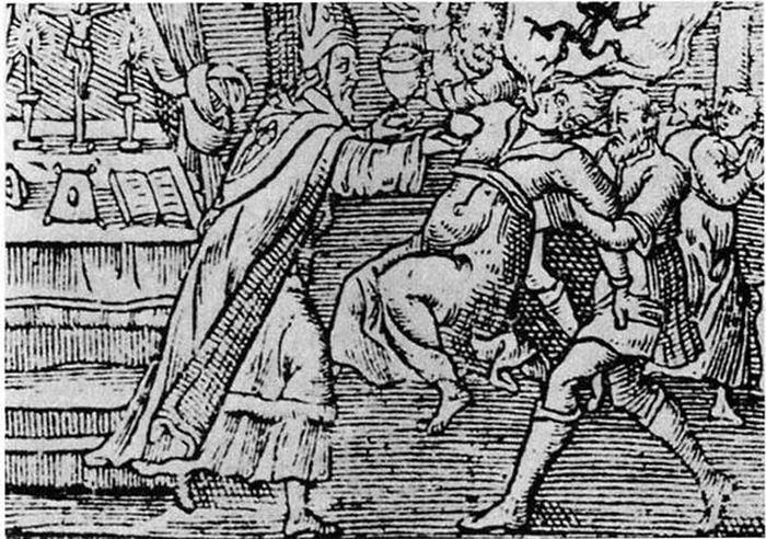 Une gravure sur bois datant de 1598 montre un exorcisme exécuté sur une femme par un prêtre et son assistant, un démon émergeant de sa bouche - Crédit : Pierre Boaistuau et al., Histoires prodigieuses et mémorables, extraites de plusieurs auteurs célèbres, Grecs, et Latins, sacrez et propanes (Paris, 1598), vol. 1.
